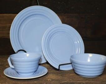 Hazel Atlas Moderntone Platonite Pastel Blue Dinnerware Setting ~ 5 Pieces