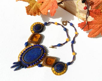Boho Lapis Lazuli Embroidery Necklace Amber Necklace Blue Yellow Necklace Statement Necklace Beadwoven Necklace OOAK Necklace