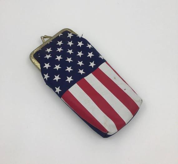80's USA Cigarette Case - Patriotic US Flag Soft Cigarette Holder Snap Purse - Cigarette Holder Purse Insert Small Stars & Stripes Cig Pouch