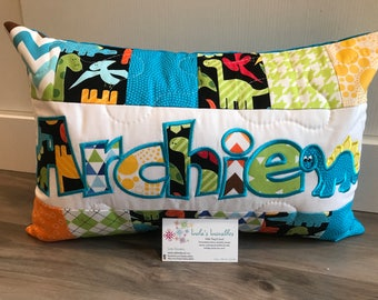 Dinosaur kids room, personalized throw pillow case, 12x18 inches