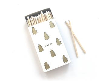 "Wander Candle Matchbox. Pine Trees Decorative Match Box. Oversized Matchbook. Adventure Lover Gift. Great Outdoors Decor. 4"" Wooden Matches."