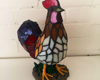 Stained Glass Rooster Accent Lamp / Nightlight // Vintage Tiffany Styled Lighting