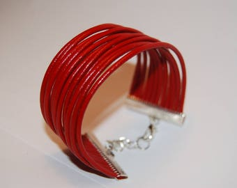 Bracelet leather red genuine round 2 mm
