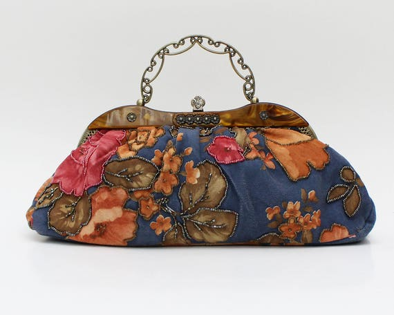 Vintage 1970s Blue Beaded Fall Floral Handbag