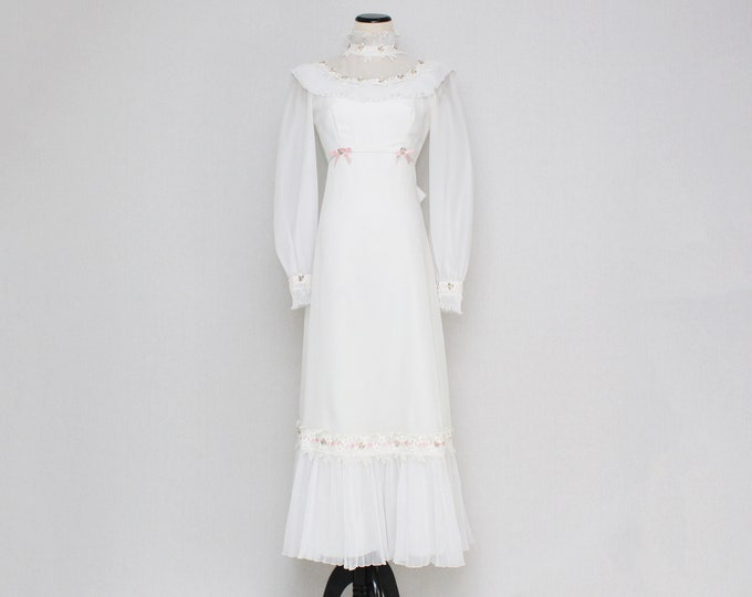 Vintage 1970s Prairie Wedding Dress - Size Extra Small