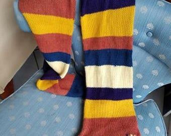 Alpaca extra long stripe scarf with pocket,  Alpaca scarf with colorful stripes with fringe, lovely long long scarf with secret pocket,