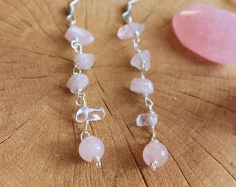 Rose Quartz wirewrapped earrings