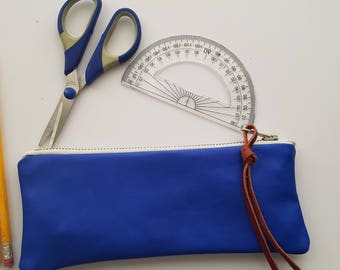 Blue Leather pencil case, zipper case,Small pouch, leather case