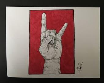 A5 Metal horns drawing - Original piece