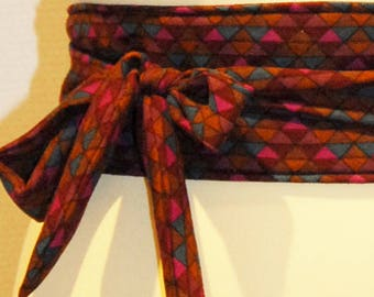 94 multicolored geometric pattern fabric tie belt