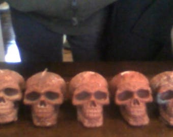 Deep red celtic warrior skull candles