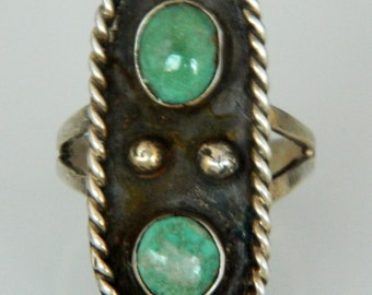 Native American Old Pawn Navajo Green Turquoise Sterling Silver Handmade Ring  Size 8 3/4