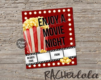 Redbox Code movie lights and popcorn, movie night gift tag, teacher last minute gift, printable template, instant digital download, coworker