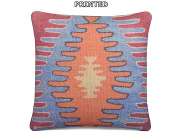 16x16 tradition kilim pillow orange throw pillow blue decorative pillow turkish pillow sham rustic pillow sham red kilim pillow cover 1-40