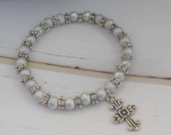 Bracelet Gift For Christian   Stretch Women Bracelet, Gift With Cross, Christian Jewelry Bracelet, Cross Gift For Wife, Charm Bracelet