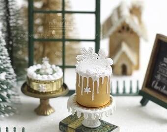 Spectacular Crystal Snowflakes Gold Tall Drip Christmas Cake- Xmas- in 1/12th miniature dollhouse Christmas Cake