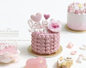 Valentine's ~Elegance Buttercream Heart Petal Cake- LOVE-in 1/12th miniature dollhouse Cake