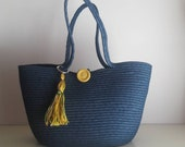 Blue Jeans Basket Bag, Monochrome Basketbag, Summer BohoChic Bag, Handmade Denim Bag