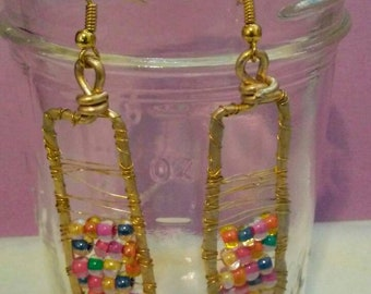 Gold wire-wrapped beaded earrings