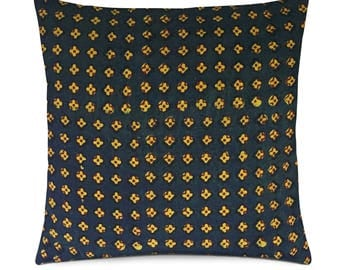 Olive Mustard Ajrakh Cotton Pillow Cover - Decorative Cotton Throw Pillow - Entryway Pillow Cover - Housewarming Gift - Outdoor Pillows