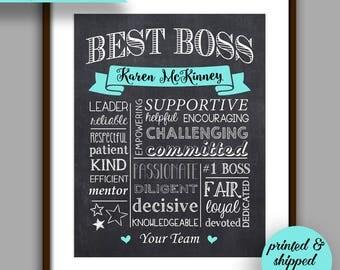 Boss Gift, Best Boss Chalkboard Style Print, Pink Boss Christmas, Boss Appreciation Gift, Unique Boss Gift, Personalized