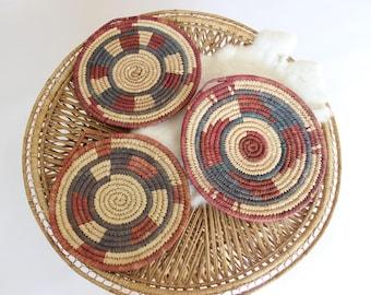 Vintage Wall Basket Set Trio of Woven Baskets w/ Tribal Print Boho Home Decor