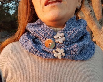 Wool Blue denim neckwarmer scarf with decorative buttons