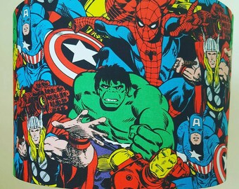 Marvel Avengers Lampshade, Superhero Lamp shade, The hulk, spiderman, Thor, Captain America, Comic Book, Kids, Children's decor, Bedroom