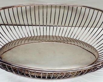"Gorham Silver Company Oval Wire Bowl Basket,  YC743 Silverplate 11"""