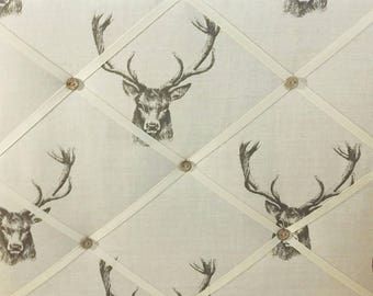 Memo board in Vintage Stag Fabric padded notice board, Stag Decor
