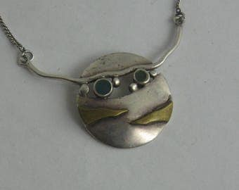 "UNIQUE sterling silver necklace ""face"" with gold plating and stones (925 Ag). Vintage silver treasure"