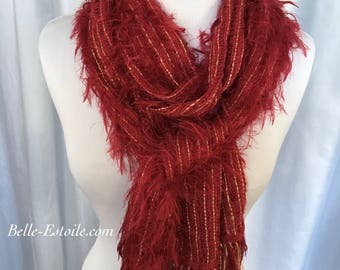 Red Handwoven Scarf, Hand Woven Scarf, Handmade Scarf, Red Scarf, Fuzzy Scarf, Valentine's Gift for Her