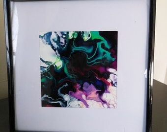 5x5 abstract fluid art painting