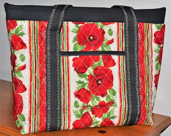 Red Poppies Quilted Tote Bag