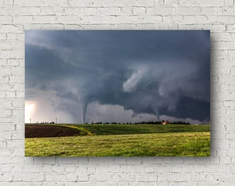 Tornado Canvas, Tornado Wall Art, Twin Tornado Art, Tornado Picture, Tornado Fine Art, Kansas Canvas, Nature Canvas, Tornado Photography