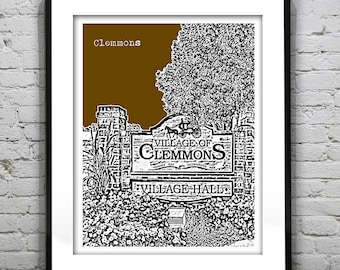 1 Day Only Sale 10% Off - Clemmons Art Print Poster Original North Carolina NC Version 1