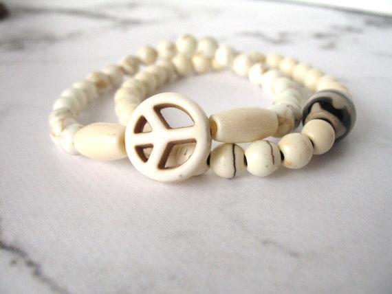 Boho Bracelet in Natural Howlite Stone with Peace Sign, Mala Bracelet, Stackable Bracelet, Peace Bracelet, Hippie Bracelet, Women's Gift