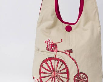 Red bike Messenger bag hand painted, fancy style