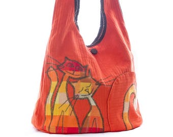 Painted orange red cat shoulder bag, autumn