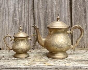 Vintage Silver Plated Engraved Tea Set Teapot and Sugar Bowl