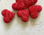 Crochet Hearts (red, 5 items)