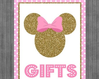 FLASH SALE Minnie Mouse Birthday Sign, Pink and Gold, Gift sign