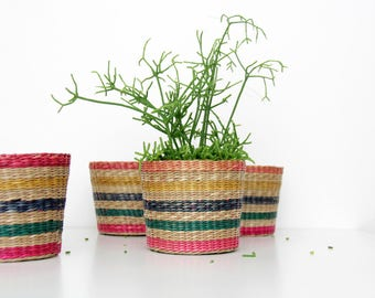 4x Vintage Planters // Colorful Striped Wicker Plant Holders // Basket Planters // Set of 4