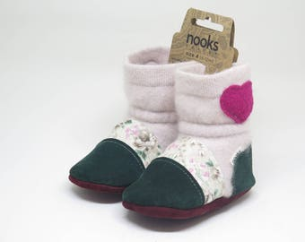 """Nooks booties, toddler footwear, toddler size US 4 / 6 - 12m / 4.5"""" length slip-on style"""