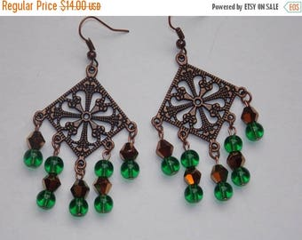 15%OFF Green Glass Copper Crystal Copper Chandelier Earrings