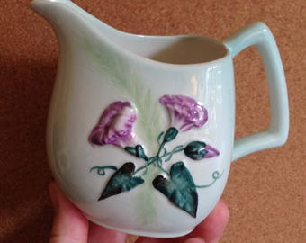 Vintage Carltonware Carlton ware scarce milk jug, Convolvulous MORNING GLORY green Australian design