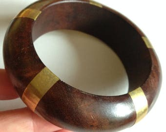 Bangle - A chunky wooden wood bangle with brass stripes