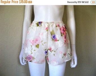 25% off SALE Sheer Floral rose print Tap Pants / 90s lingerie short