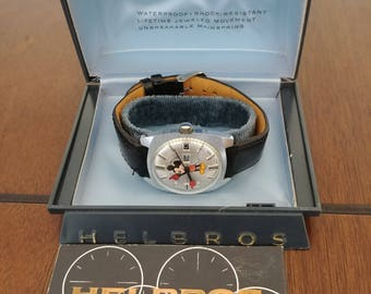 Rare Vintage Helbros Bros Auto Self-Winding Day Date Mickey Mouse Character Watch Lot. Running Near Mint & Original Helbros Watch Box