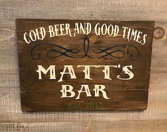 Wood Bar Signs, Rustic Bar Sign Wood, Custom Wood Bar Sign, Custom Home Bar Sign, Custom Bar Sign, Rustic Man Cave Sign